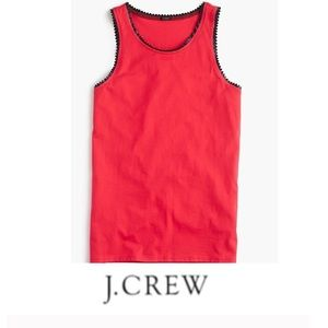 J. Crew Navy Faux Leather Scallop Red Tank
